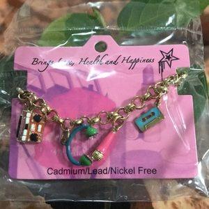 80's Retro Enameled Charm Bracelet Fashion Jewelry